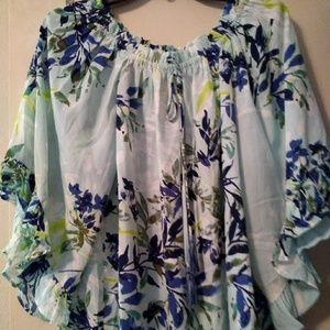 Nwt Sz M One World Off On Shoulders Floral Blouse